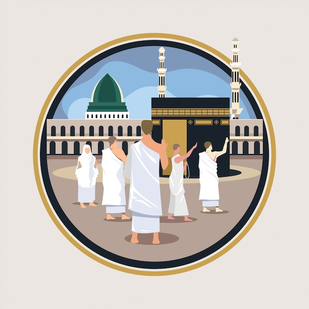 Hadj bedevaart wandeling en bid rond kaaba Premium Vector