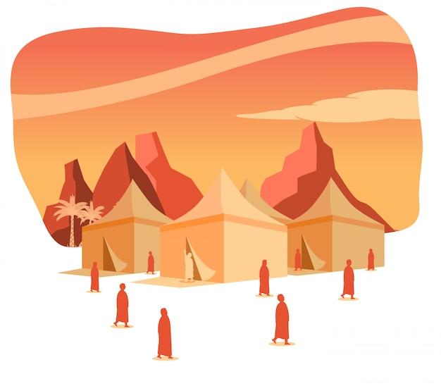 Hadj-bedevaartsilhouet op mina-tentengebied bij dageraad Premium Vector