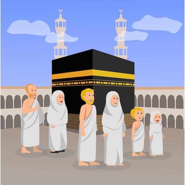 Hadj bedevaartsoord islamitisch gebed in macca illustratie Premium Vector