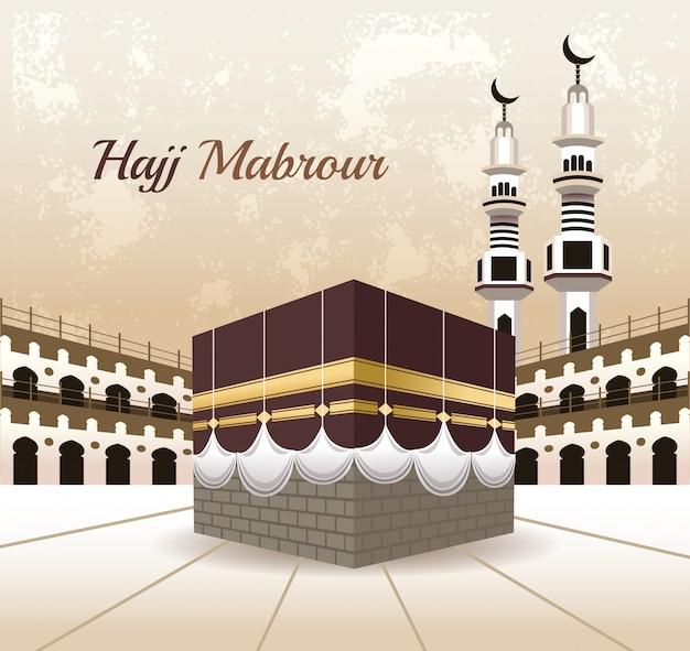 Hadj mabrur feest met vector illustratie van de moskee scène Premium Vector