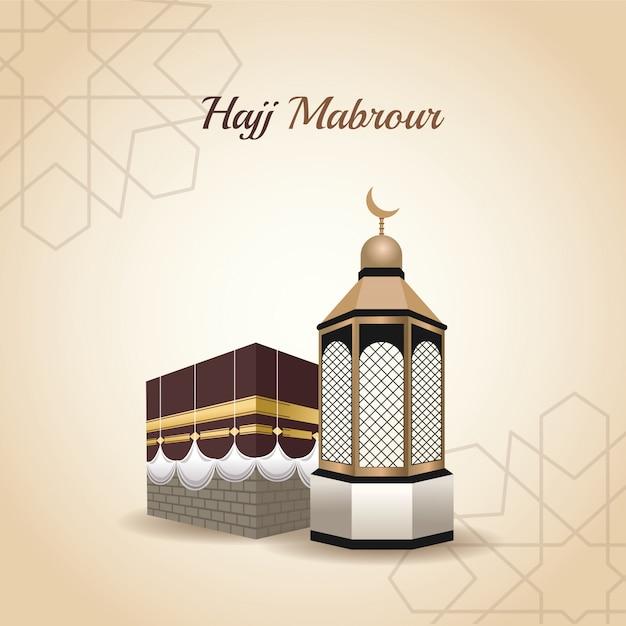 Hadj mabrur feest met vector illustratie van de moskee toren Premium Vector