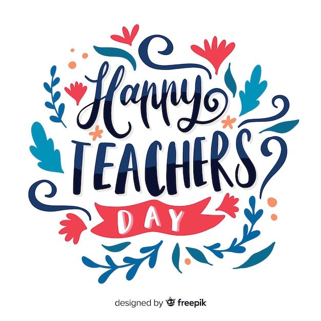 Hadn getrokken wereld leraren dag belettering Gratis Vector