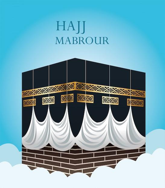 Hajj mabrour feest met heilige kaaba Premium Vector