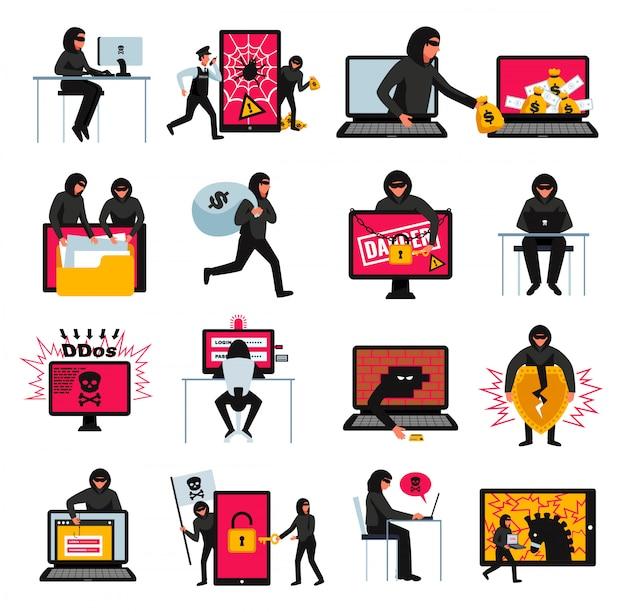 Hakkerpictogrammen met online bedreigingen en aanvalsymbolen worden geplaatst isoleerden vlak illustratie die Gratis Vector