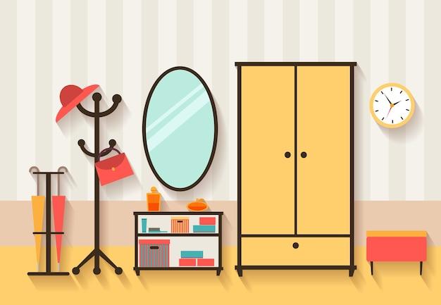 Hal interieur illustratie. meubels en spiegel, kleerhanger en appartement Gratis Vector