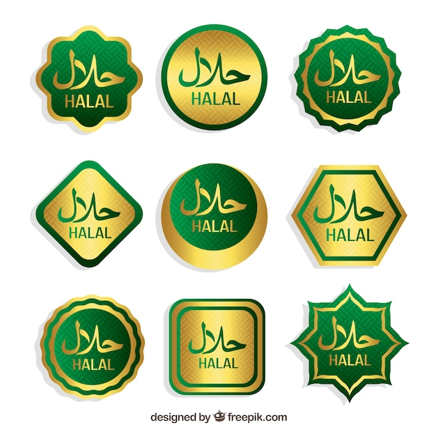 Halal stempelcollectie met plat ontwerp Gratis Vector
