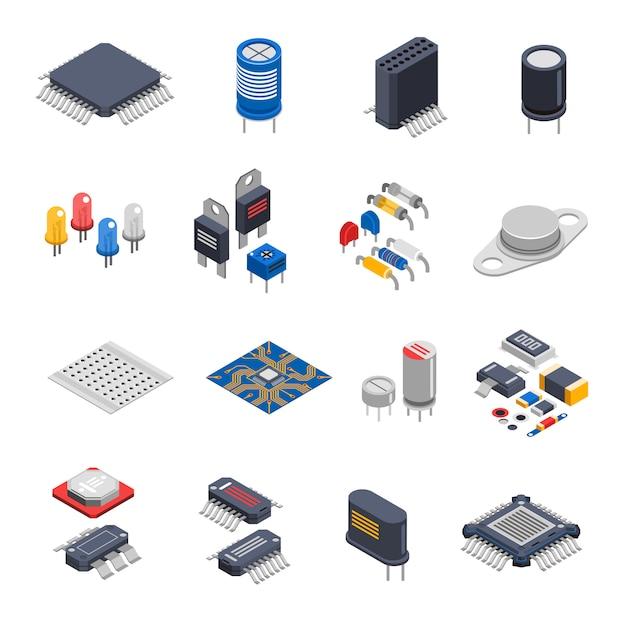 Halfgeleidercomponenten icon set Gratis Vector