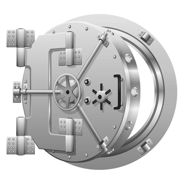 Halfopen bankkluisdeur op wit. veilige bank, veilige metalen deur, veiligheidsbank vergrendelen, veilige bank openen. vector illustratie Gratis Vector
