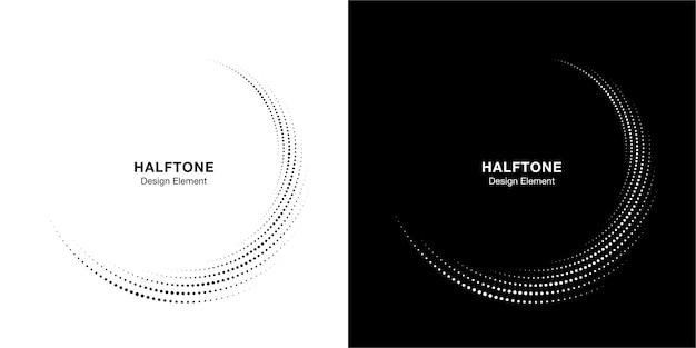 Halftone cirkel gestippelde frame circulair verdeeld set. abstract stippen logo embleem ontwerpelement. ronde rand pictogram met halftoon cirkel punt textuur. Premium Vector