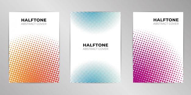 Halftone dekking ontwerp achtergrond ingesteld a4-formaat Premium Vector