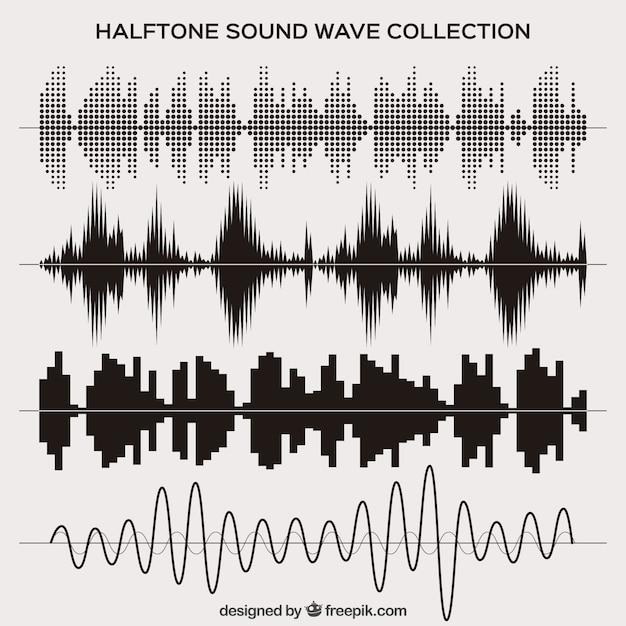 Halftone geluidsgolf set Gratis Vector