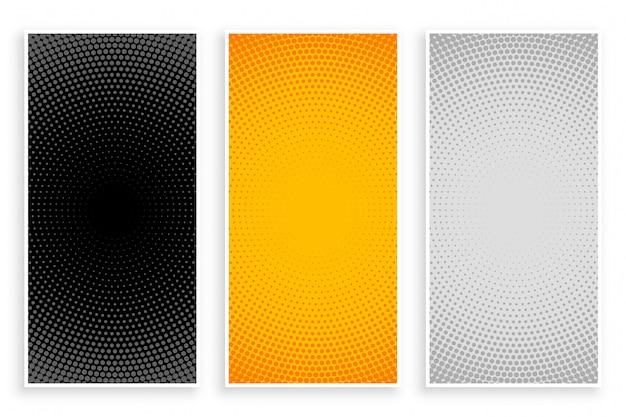 Halftoonpatronen ingesteld in zwart-gele en witte kleuren Gratis Vector