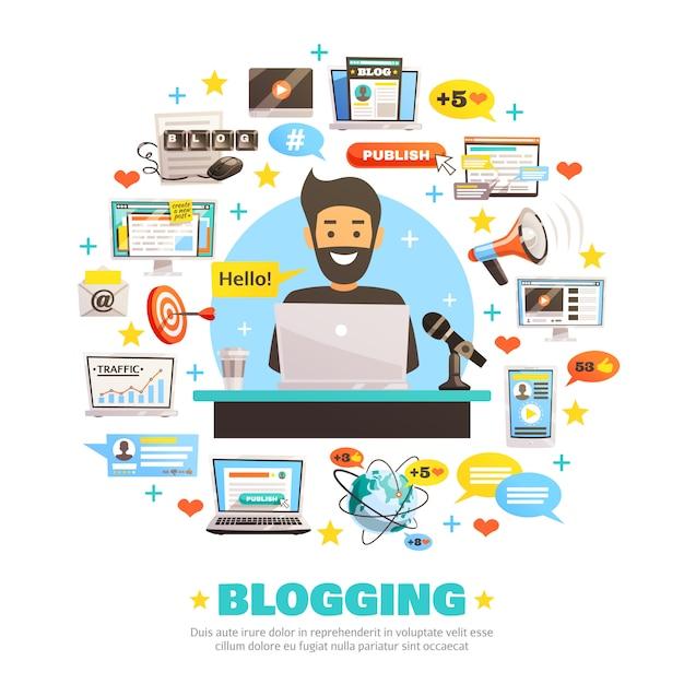 Hallo blogger ronde samenstelling Gratis Vector