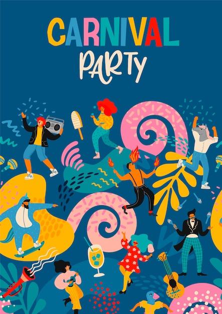 Hallo carnaval. vectoraffiche met grappige dansende mannen en vrouwen in heldere moderne kostuums. Premium Vector