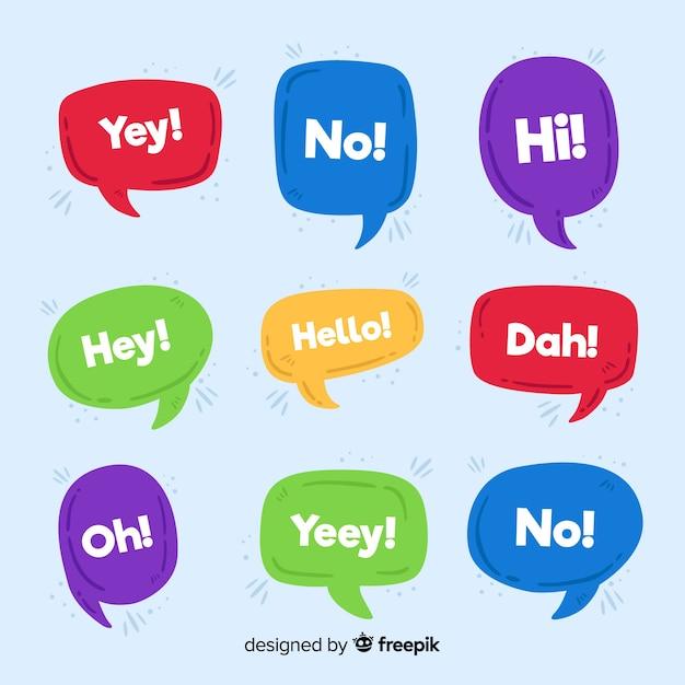 Hallo citaat op chat bubble collectie Gratis Vector