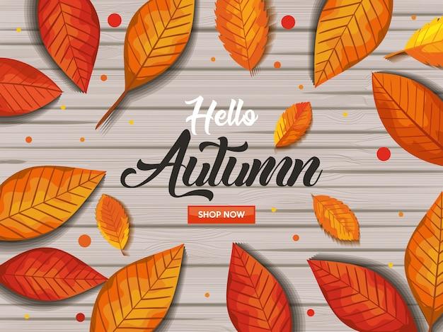 Hallo herfst in houten banner Gratis Vector