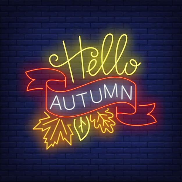 Hallo herfst neon bord met lint en bladeren vallen Gratis Vector