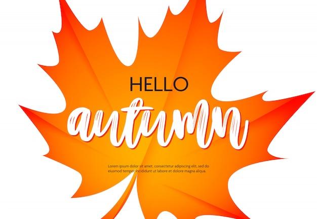 Hallo herfst poster met tekstvoorbeeld Gratis Vector