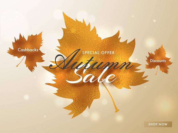Hallo herfst verkoop achtergrond. Premium Vector