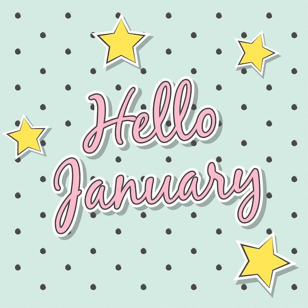 Hallo januari Premium Vector