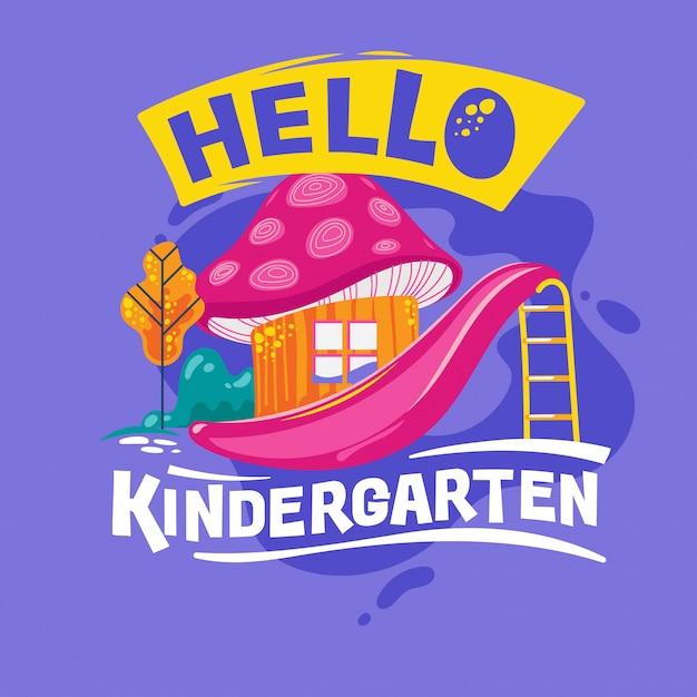Hallo kindergarten phrase met kleurrijke illustratie. terug naar school offerte Premium Vector