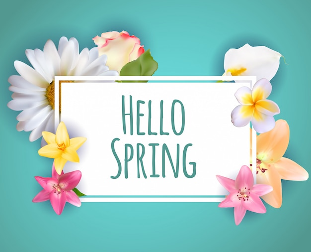 Hallo lente banner groeten ontwerp achtergrond met kleurrijke bloem elementen. Premium Vector