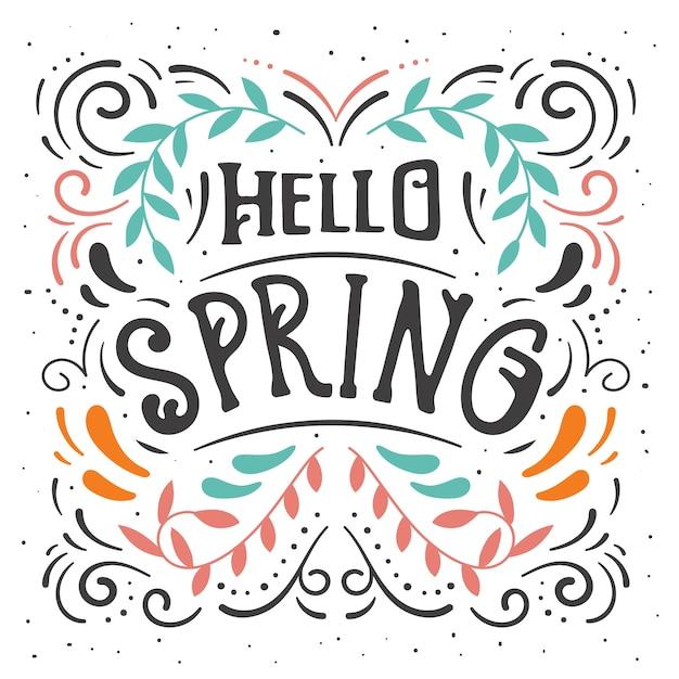Hallo lente belettering met golvende lijnen Gratis Vector