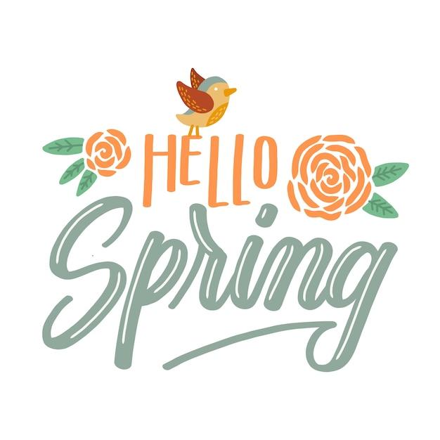 Hallo lente belettering met kleurrijke bloemen en vogels Gratis Vector