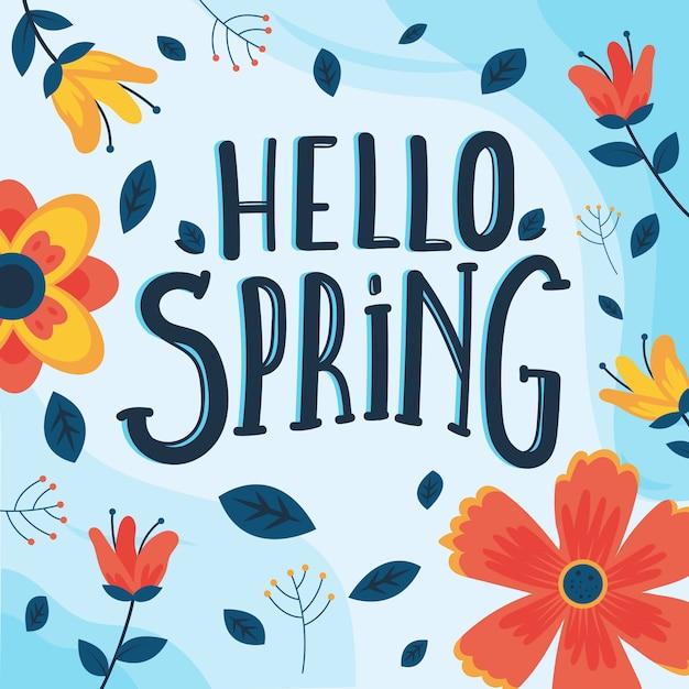 Hallo lente belettering met kleurrijke decoratie Gratis Vector