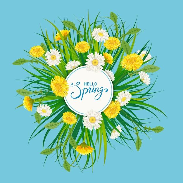 Hallo lente belettering sjabloon met bloemen boeket paardebloemen, chamomiles, gras Premium Vector