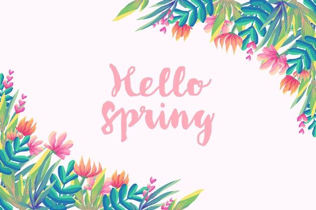 Hallo lente met bloemen Gratis Vector