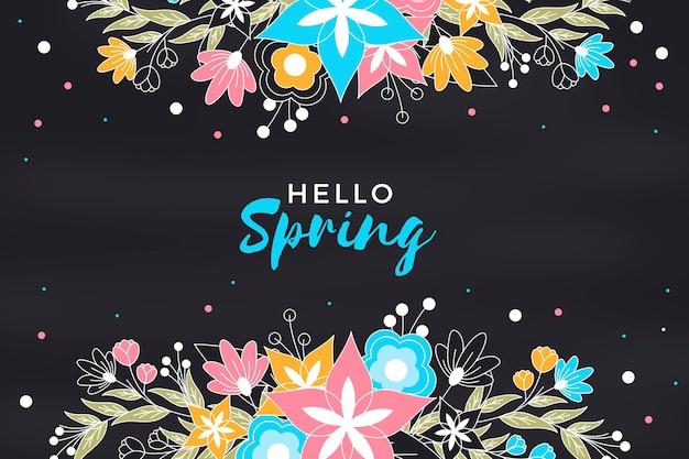 Hallo lente schoolbord achtergrond met bloemen Gratis Vector