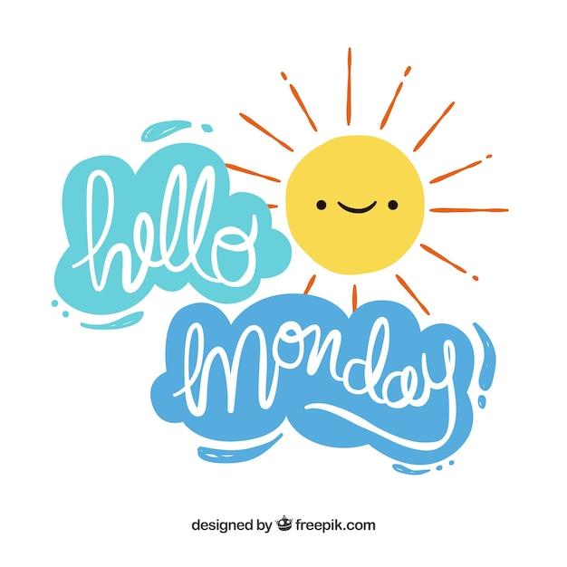 Hallo maandag met zon en wolken Gratis Vector