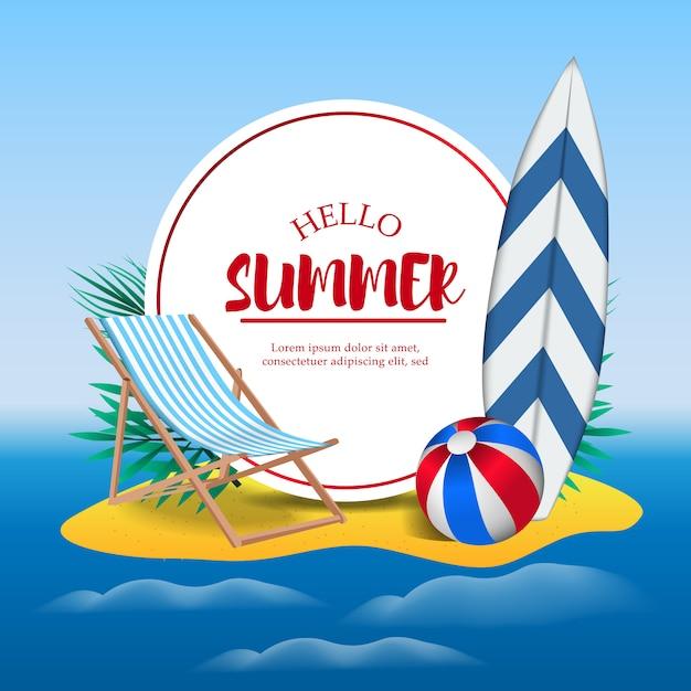 Hallo vakantie in de zomerdag op strandeiland Premium Vector