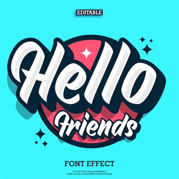 Hallo vrienden tekst effect met coole stedelijke jeugdstijl Premium Vector