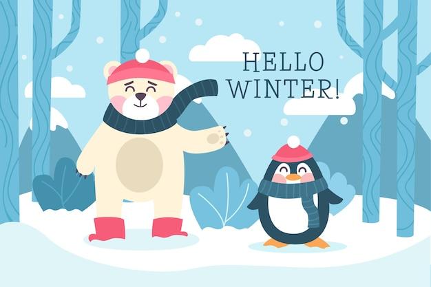 Hallo winter achtergrond in plat ontwerp Gratis Vector