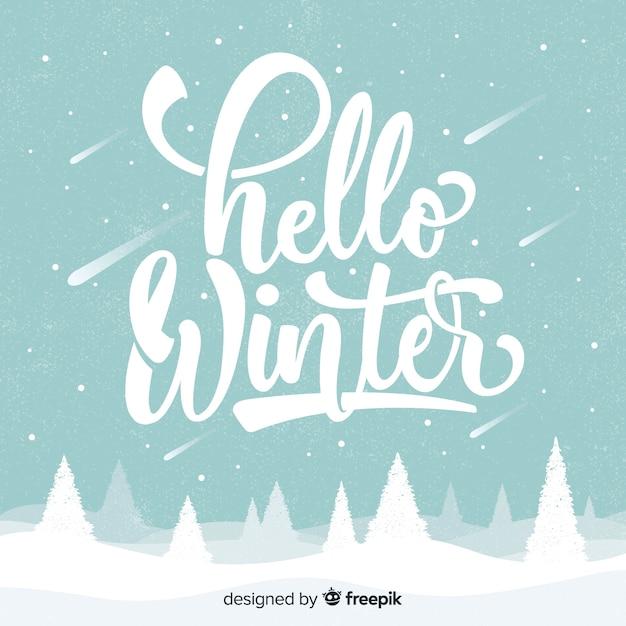 Hallo winter achtergrond Gratis Vector