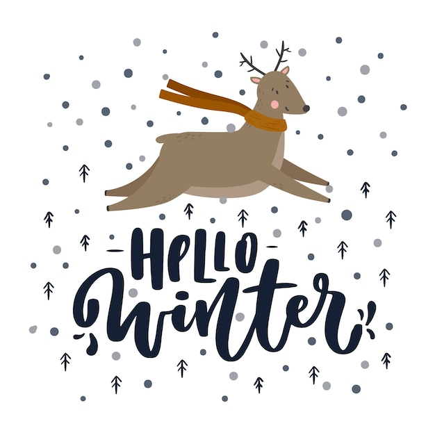 Hallo winter belettering met rendieren Gratis Vector