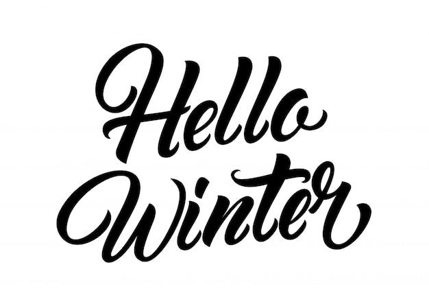 Hallo winter belettering Gratis Vector