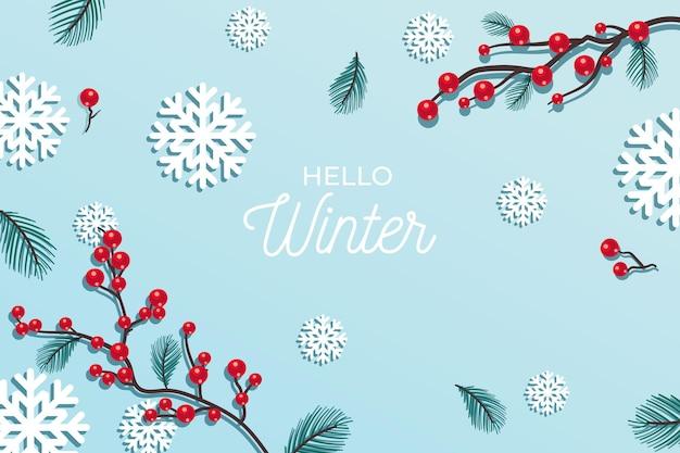 Hallo wintergroet op winterachtergrond Gratis Vector