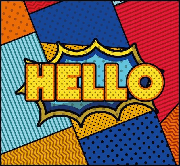 Hallo woord popart stijl expressie Gratis Vector