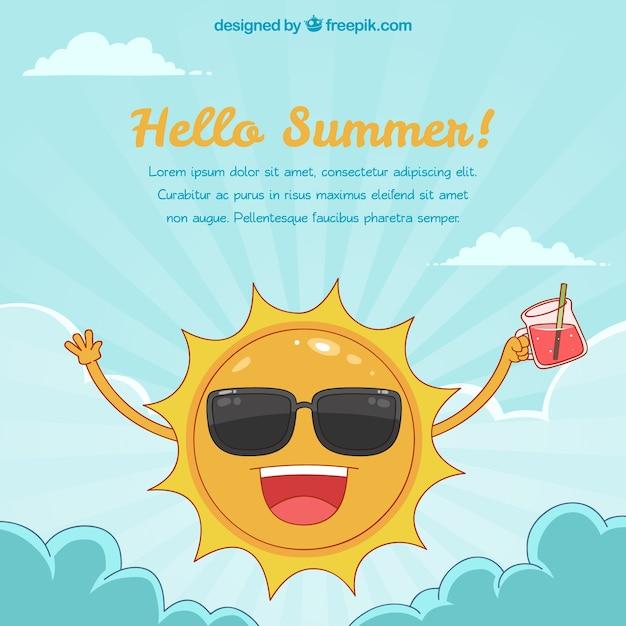 77d000ac17bc85 Hallo zomer achtergrond met grappige zon Gratis Vector