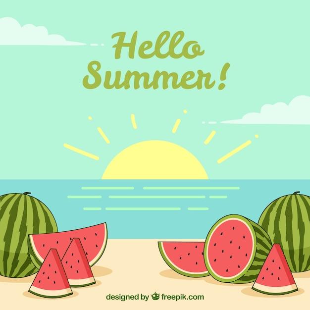 Hallo zomer achtergrond met heerlijke en verse watermeloenen Gratis Vector