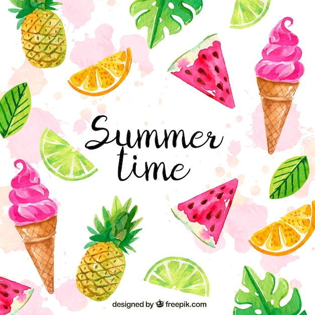 Hallo zomer achtergrond met ijsjes en fruit in aquarel stijl Gratis Vector