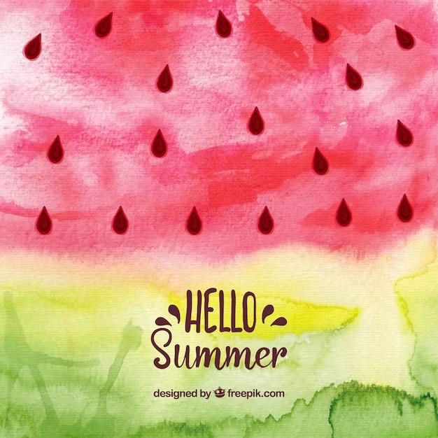 Hallo zomer achtergrond met watermeloen in aquarel stijl Gratis Vector