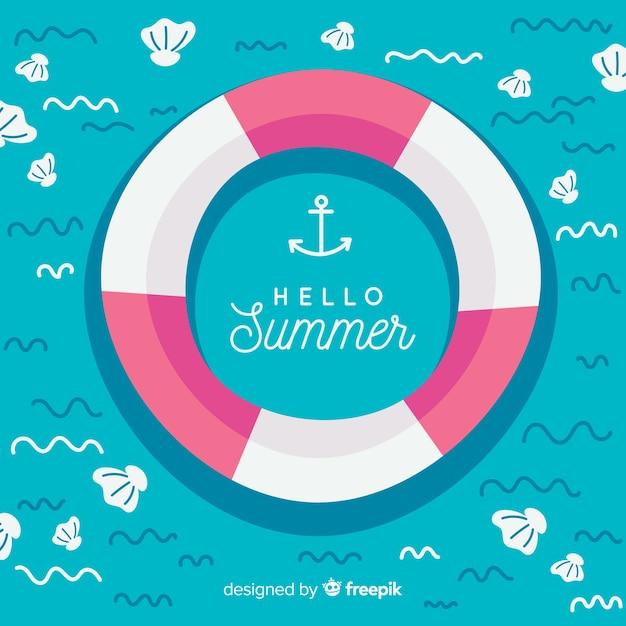 Hallo zomer achtergrond Gratis Vector