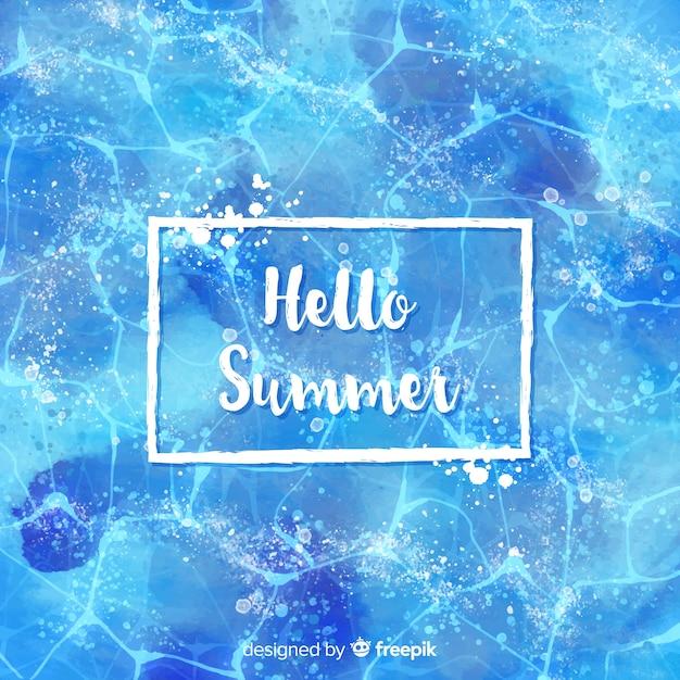 Hallo zomer aquarel achtergrond Gratis Vector