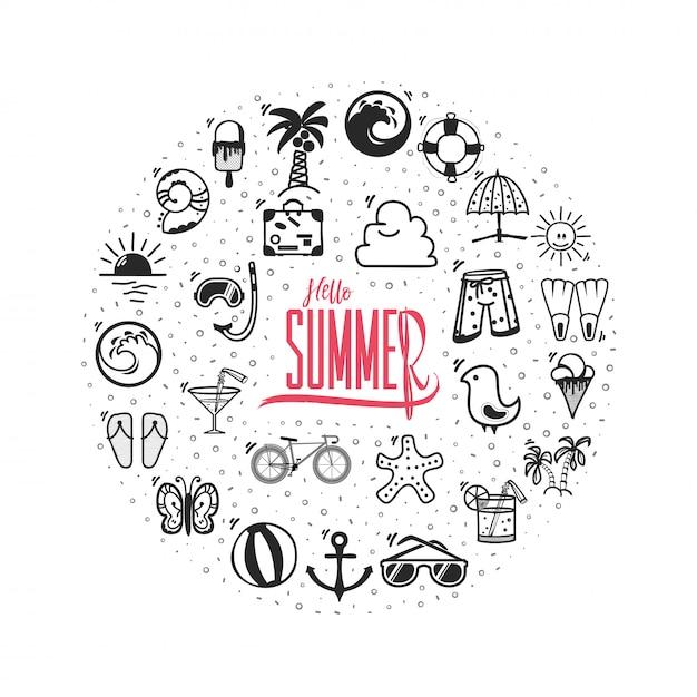 Hallo zomer banner pictogrammen Premium Vector
