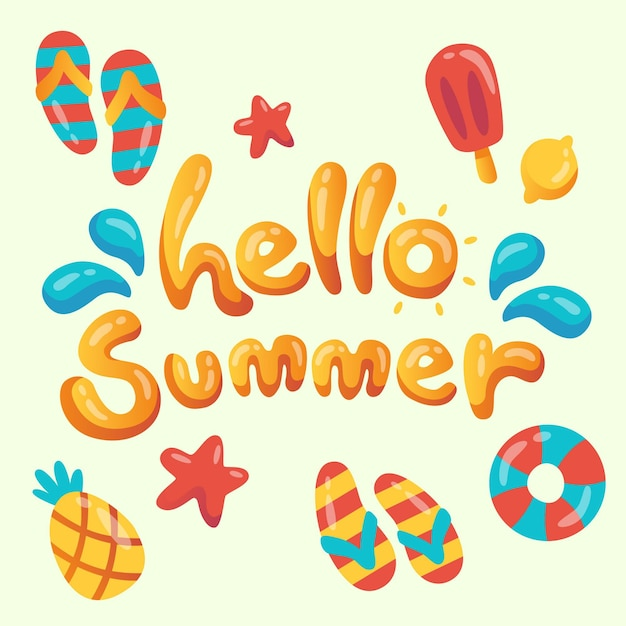 Hallo zomer belettering concept Gratis Vector