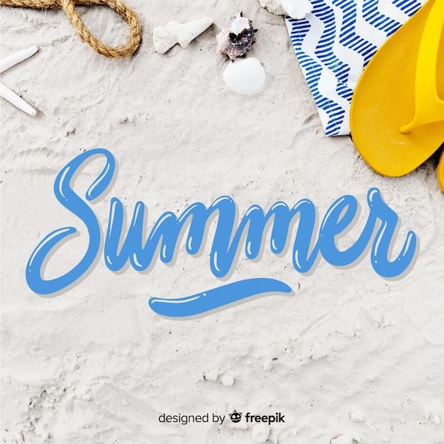 Hallo zomer belettering met foto Gratis Vector
